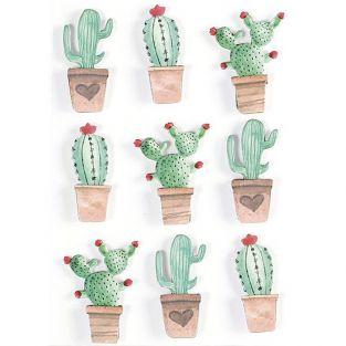 3D stickers x 9 - Mexican cactus 4,5 cm