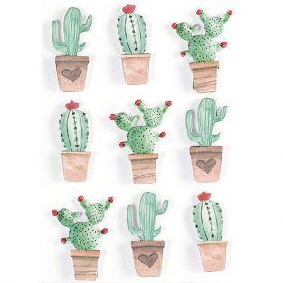 9 stickers 3D - Cactus mexicains 4,5 cm