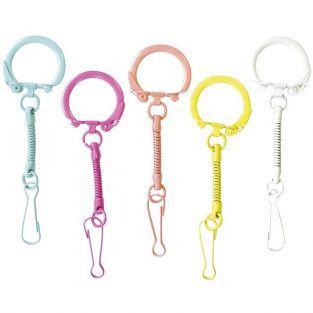 10 porte-clés avec mousquetons multicolores mat - 25 x 80 mm