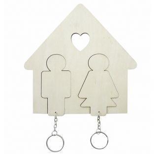 Accroche-clés Maison en bois à personnaliser - Famille