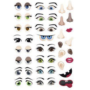 124 pegatinas adhesivas - ojos y cara
