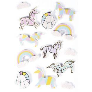 13 pegatinas 3D - Unicornios 5 cm