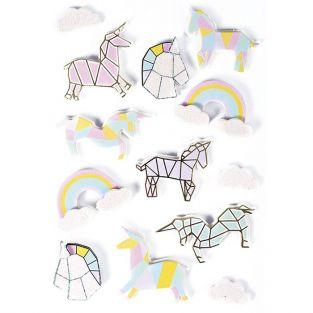 3D stickers x 13 - Unicorns 5 cm