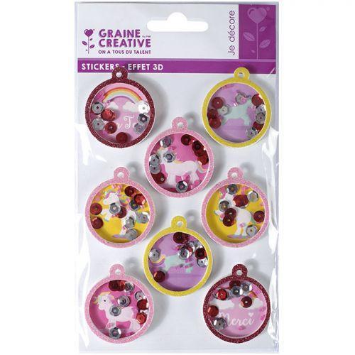 3D stickers x 8 - Balls Unicorn 4,5 cm