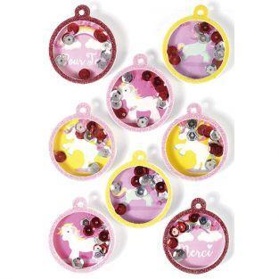 8 stickers 3D - Boules Licorne 4,5 cm