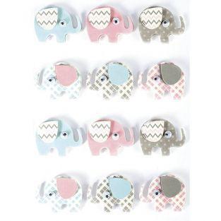 12 pegatinas 3D - Elefantes 4,3 cm