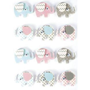 3D stickers x 12 - Elephants 4,3 cm