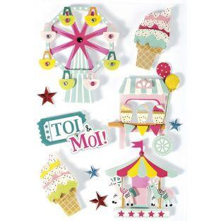 10 stickers 3D - Fête foraine 6,5 cm