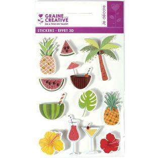 3D stickers x 12 - Tropical 5,5 cm