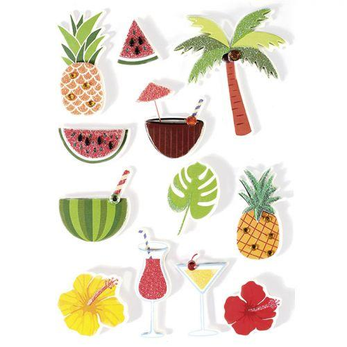 12 stickers 3D - Tropical 5,5 cm