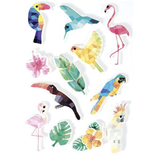 12 stickers 3D - Oiseaux tropicaux 6 cm