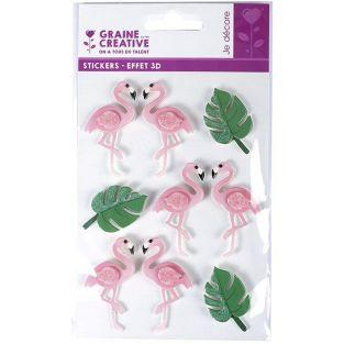 9 stickers 3D - Flamants rose 5,5 cm