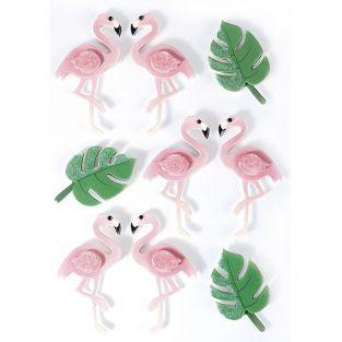 3D stickers x 9 - Flamingos 5,5 cm