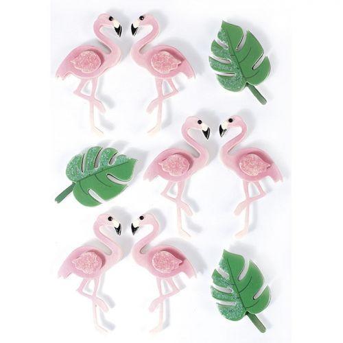 3D stickers x 9 - Flamingos 5,5 cm