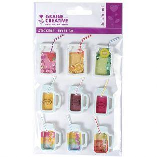 9 stickers 3D - Boissons mason jars 5 cm
