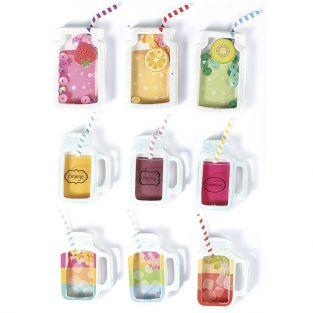 9 stickers 3D - Boissons mason jars 5 cm