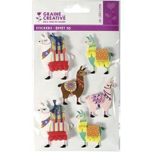 6 stickers 3D - Lama 6 cm