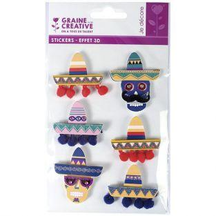 3D stickers x 6 - Mexican hats Sombreros 5,5 cm