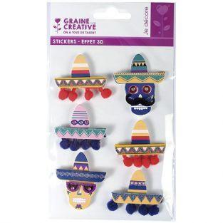 6 stickers 3D - Chapeaux mexicains Sombreros 5,5 cm