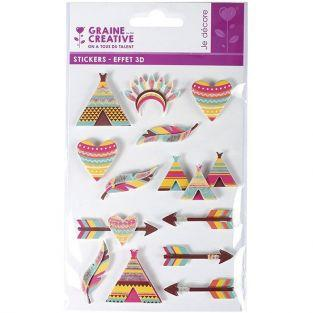 3D stickers x 13 - Indians 5 cm
