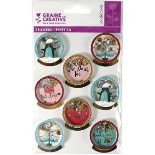 3D Christmas stickers x 8 - Penguins 4 cm