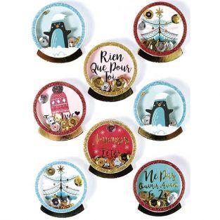 8 stickers 3D de Noël - Pingouins 4 cm