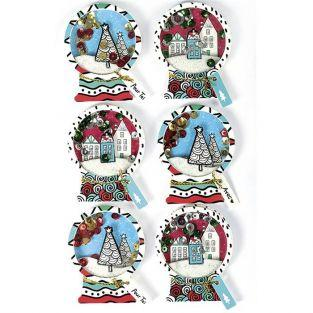 3D Christmas stickers x 6 - Snowballs 5 cm