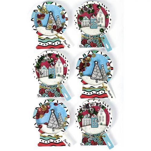 6 stickers 3D de Noël - Boules de neige 5 cm