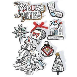 8 stickers 3D de Noël - Hiver blanc 8 cm