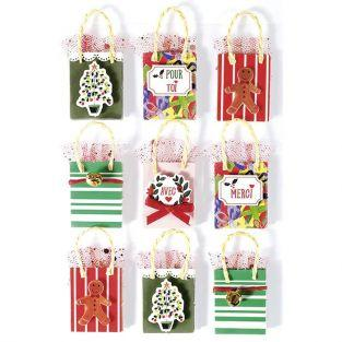 3D Christmas stickers x 9 - Gift bag 5 cm