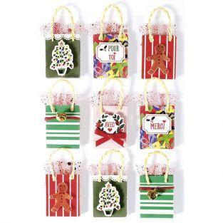 9 stickers 3D de Noël - Sac cadeau 5 cm