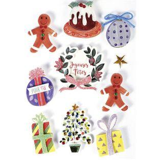 3D stickers x 10 - Christmas decorations 5 cm