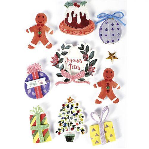 10 stickers 3D - Décorations de Noël 5 cm