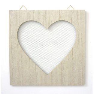 Tableau en bois déco grillage cœur - 20 cm x 20 cm