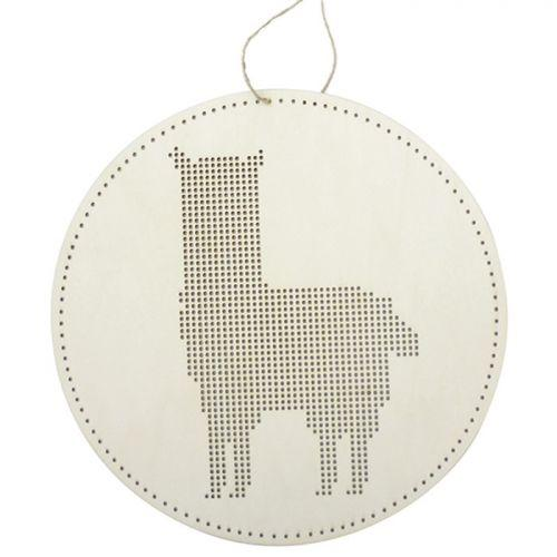 Wooden embroidery mobile - Lama 22 cm x 22 cm