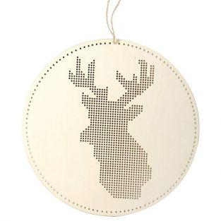 Móvil de madera para bordar - Cabeza de ciervo 22 x 22 cm