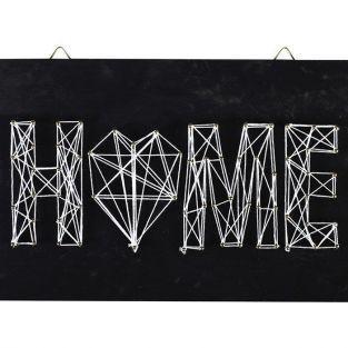 Cuadro negro de madera String Art - Home deco 22 x 22 cm