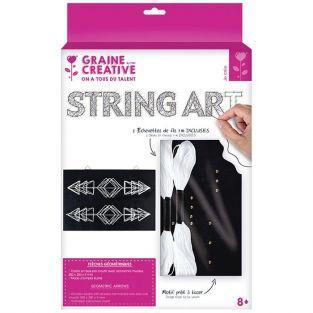 Coffret String Art - Tableau noir Flèches déco art filaire 22 x 22 cm
