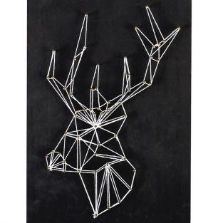 Coffret String Art - Tableau noir Cerf art filaire 22 x 22 cm