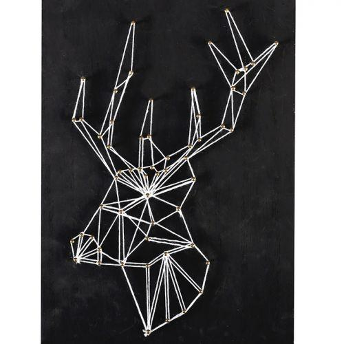 tableau noir cerf art filaire 22 cm x 22 cm string art. Black Bedroom Furniture Sets. Home Design Ideas