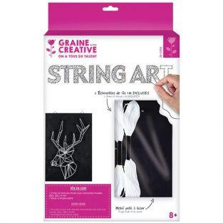 Cuadro negro de madera String Art - Ciervo 22 x 22 cm