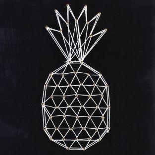 Coffret String Art - Tableau noir Ananas art filaire 22 x 22 cm