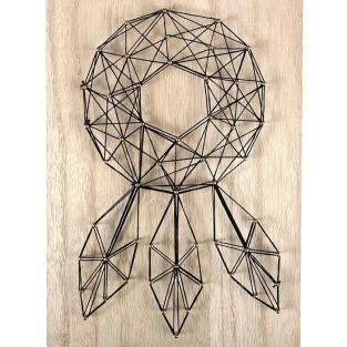 Set String Art - Wooden Board Dream-catcher 20 cm x 30 cm
