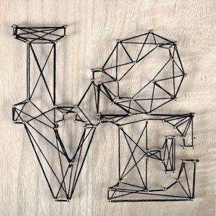 Cuadro de madera String Art - Love 22 x 22 cm