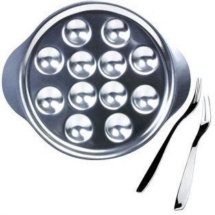 Service à escargots - assiette 12 empreintes + 6 fourchettes