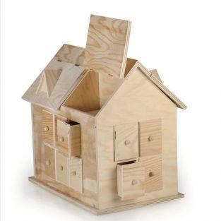 Calendrier de l'avent - Maison en bois 33,5 x 32 x 22 cm
