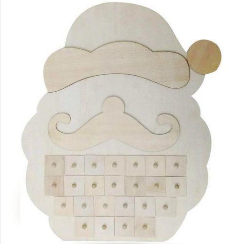 Calendrier de l'avent - Père Noël en bois 33 x 40 x 5 cm