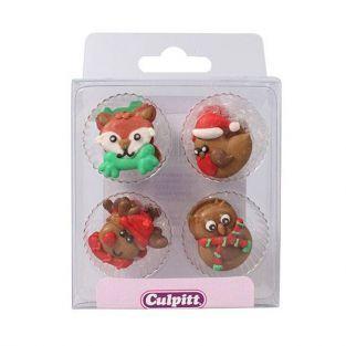 12 décorations en sucre - Animaux de Noël