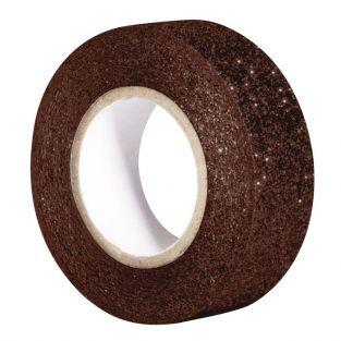 Masking tape 5m x 15 mm with glitter - brown