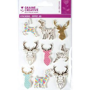 9 stickers 3D géométriques - Renne de Noël 5 cm